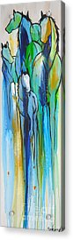 Acrylic Print featuring the painting Blue Drip 2 by Cher Devereaux