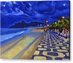 Blue Dusk Ipanema Acrylic Print