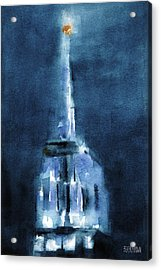 Blue Empire State Building Acrylic Print by Beverly Brown