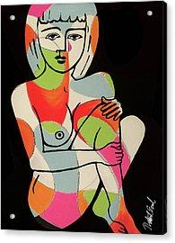 Blue Eyes Nude Female Pose Painting By Robert Erod Print Acrylic Print
