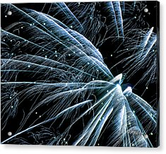 Acrylic Print featuring the photograph Blue Fairy Fireworks #0710_3 by Barbara Tristan