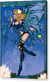 Blue Fairy Of Water Acrylic Print by KimiCookie Williams