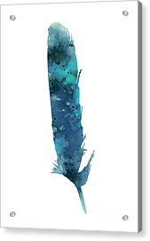 Blue Feather Giclee Print Acrylic Print