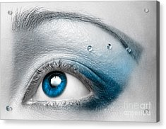 Blue Female Eye Macro With Artistic Make-up Acrylic Print by Oleksiy Maksymenko