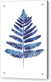 Blue Fern Watercolor Art Print Painting Acrylic Print by Joanna Szmerdt
