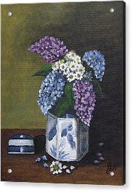 Blue Fish Vase Acrylic Print by Kim Selig