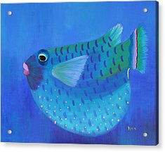 Blue Fish With Pink Lips Acrylic Print