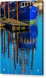 Blue Fishing Boat Reflection Acrylic Print