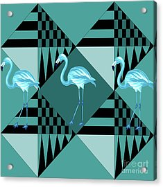 Blue Flamingo Acrylic Print by Mark Ashkenazi