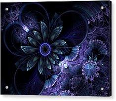 Blue Fleur And Lace Acrylic Print
