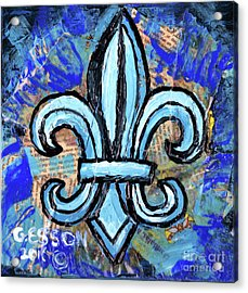 Acrylic Print featuring the mixed media Blue Fleur De Lis by Genevieve Esson