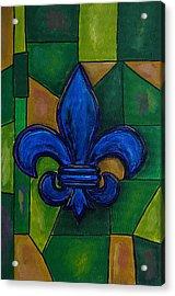 Blue Fleur De Lis Acrylic Print by Patti Schermerhorn