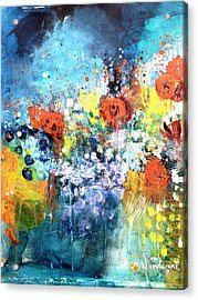 Blue Floral Acrylic Print by Wendy Mcwilliams