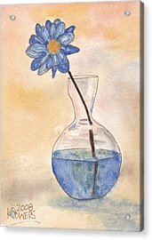 Blue Flower And Glass Vase Sketch Acrylic Print by Ken Powers