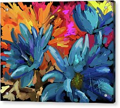 Acrylic Print featuring the painting Blue Flowers 2 by DC Langer
