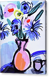Blue Flowers And Coffee Cup Acrylic Print by Amara Dacer