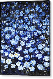 Acrylic Print featuring the painting Blue Flowers by Evelina Popilian