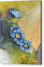 Blue Flowers Acrylic Print by Sibby S