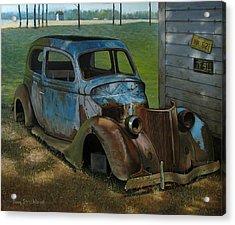 Blue Ford Acrylic Print by Doug Strickland