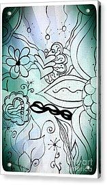 Blue Funky Flower Doodles Acrylic Print