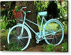 Blue Garden Bicycle Acrylic Print