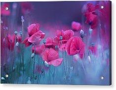 Blue Garden Poppies Acrylic Print by Magda  Bognar
