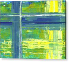 Blue Geometric Yellow Acrylic Print