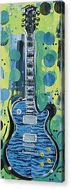 Blue Gibson Guitar Acrylic Print