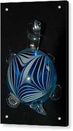 Blue Glass Turtle Acrylic Print by Rob Hans