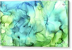Blue Green Abstract Ink Painting Acrylic Print