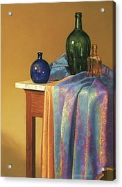 Blue Green And Gold Acrylic Print by Barbara Groff