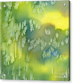 Blue Green And Yellow Abstract Watercolor Design 1 Acrylic Print by Sharon Freeman