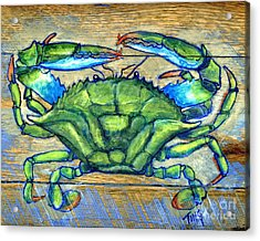 Blue Green Crab On Wood Acrylic Print