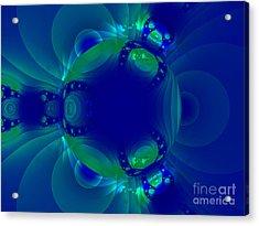 Blue Green Globe Luminant Fractal Acrylic Print