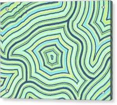 Acrylic Print featuring the drawing Blue Green Pattern Play by Jill Lenzmeier