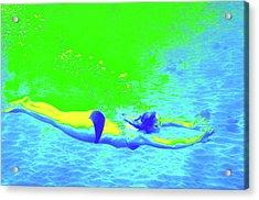 Blue-green Psychedelic Makua Mermaid Acrylic Print by Erika Swartzkopf
