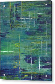 Blue Green Yellow Abstract  Acrylic Print by Patricia Cleasby