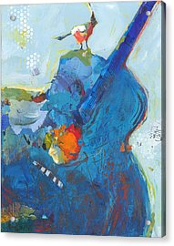 Blue Guitar With Bird Acrylic Print