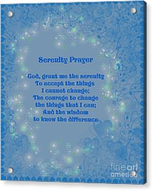 Blue Hearts Serenity Prayer Acrylic Print by Smilin Eyes  Treasures