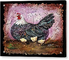 Blue Hen With Chicks Fresco Black Background Acrylic Print
