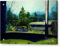 Acrylic Print featuring the painting Blue Heron Lake Matted, Framed, Glassed by Charlie Spear