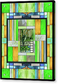 Blue Heron Stained Glass Acrylic Print