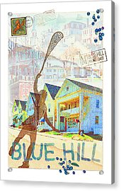 Blue Hill Village Acrylic Print by Ernestine Grindal
