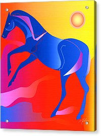 Blue Horse Acrylic Print by Mary Armstrong