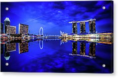 Blue Hour At Marina Bay Acrylic Print