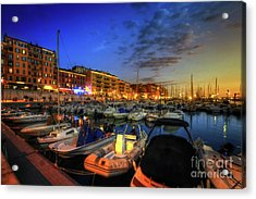 Acrylic Print featuring the photograph Blue Hour At Port Nice 1.0 by Yhun Suarez