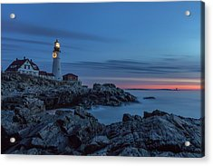 Blue Hour At Portland Head Light Acrylic Print