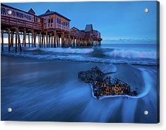 Blue Hour At The Old Orchard Beach Pier Acrylic Print by Jeff Bazinet