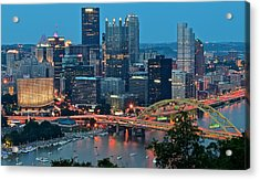 Blue Hour In Pittsburgh Acrylic Print by Frozen in Time Fine Art Photography