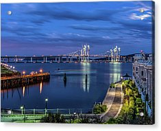 Blue Hour Over The Hudson Acrylic Print